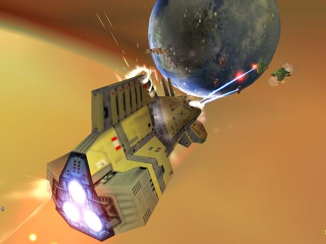 Homeworld is a real-time strategy video game for Microsoft Windows. Set in space, the science fiction game follows the Kushan exiles of the planet Kharak after their home planet is destroyed by the Taiidan Empire in retaliation for developing hyperspace jump technology. The survivors journey with their spacecraft-constructing mothership to reclaim their ancient homeworld of Hiigara from the Taiidan, encountering a variety of pirates, mercenaries, traders, and rebels along the way. In each of the game's levels, the player gathers resources, builds a fleet, and uses it to destroy enemy ships and accomplish mission objectives. The player's fleet carries over between levels, and can travel in a fully three-dimensional space within each level rather than being limited to a two-dimensional plane.