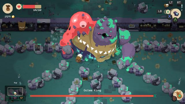 Moonlighter is an action RPG indie game developed by Spanish indie studio Digital Sun and released for Microsoft Windows, macOS, Linux, PlayStation 4, and Xbox One. Moonlighter has the player manage their shop during the day and go exploring at night. Shopkeeping involves managing goods and receiving money, which the player can invest to upgrade the town and add services like a potion-maker and a blacksmith. These town upgrades allow the player to craft weapons, armor, and health potions, hire a part-time worker to sell things during the day, as well as upgrade the characters' equipment. At night, the player can explore dungeons and confront hordes of enemies, which drop loot upon defeat; loot can also be found in chests once the player clears a room. (from Wikipedia)
