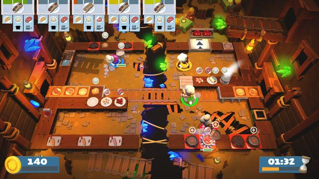 In the cooking simulator game Overcooked 2, teams of up to four players cooperatively prepare and cook orders in absurd restaurants. Players chop and cook ingredients, combine them on plates, and serve dishes via a conveyor belt. Between coordinating short orders and bumping into each other's characters, the game tends to overwhelm. The sequel builds atop the original game, which was released in 2016, with new interactive levels, restaurant themes, chef costumes, and recipes. Some levels have moving floors and other obstacles that complicate the cooking process, including portals, moving walkways, and impassable fires. Other levels transition between settings and recipes, such as one that begins with preparing salads in a hot air balloon and ends crashlanded in a sushi kitchen. The sequel introduces ingredient tossing, such that players can throw items to another chef or pot from far away, and online multiplayer, in which teams can connect either across a local wireless network or through online matchmaking. (from Wikipedia)