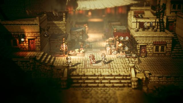 "Octopath Traveler is a turn-based role-playing game that sports a graphical aesthetic known as ""HD-2D"", defined by the developers as combining 16-bit Super NES-style character sprites and textures with polygonal environments and high-definition effects. The game puts players in the role of one of eight adventurers, each of whom begins their journey in different ways. Each character comes from different parts of the world, each of which determines their job or attribute. Each character has a unique Path Ability command that can be used when interacting with NPCs that are divided into two categories: Noble, the ability's effectiveness dependent by the character's level or amount of in-game currency, and Rogue, which has a risk of its user losing credibility upon other NPCs. For example, Olberic and H'aanit can challenge characters, Cyrus and Alfyn can inquire about certain bits of information, Tressa and Therion can acquire items, and Ophilia and Primrose can guide NPCs and use them as guest summons. (from Wikipedia)"