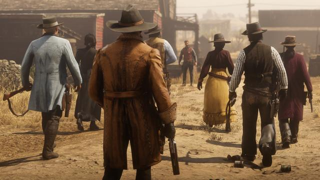 "Red Dead Online adds several new systems atop the single-player mode's gameplay. In addition to in-game cash, which can be used for supplies, Online adds gold, a second in-game currency used to purchase luxury and special items. Players acquire gold nuggets by completing challenges, and can convert 100 nuggets into gold bars. Rather than having to travel to a town's store, online player characters can order supplies anywhere from a handheld catalog. The orders become available for pickup in any town's post office or the player's camp. Online also introduces ""ability cards"", in which players can activate one active and three passive powers for their characters. Players receive these cards by rising in rank or direct purchase, and can then upgrade the cards with in-game currency or experience points. (from Wikipedia)"