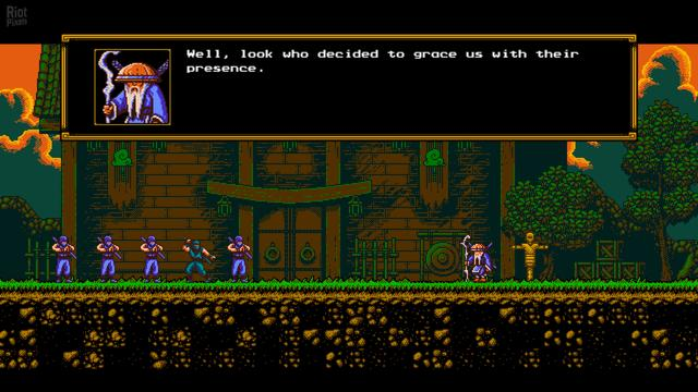 "The Messenger is a side-scrolling action-platformer, inspired by the classic Ninja Gaiden series. Players control a ninja known as ""The Messenger"" as he goes on a quest to deliver a scroll. The Messenger initially possesses a technique called ""Cloudstepping"", which allows him to perform an extra jump in mid-air after attacking an enemy, object, or projectile. As the game progresses, the Messenger gains new abilities such as climbing walls, gliding in the air, long-range shuriken attacks, and using a grappling hook to propel himself through obstacles and enemies. By collecting Time Shards earned by defeating enemies or hitting lamps, the player can purchase additional upgrades such as health bonuses or extra attack moves. If the player dies, however, a demon named Quarble will appear and automatically claim any Time Shards the player collects as payment for a short amount of time.